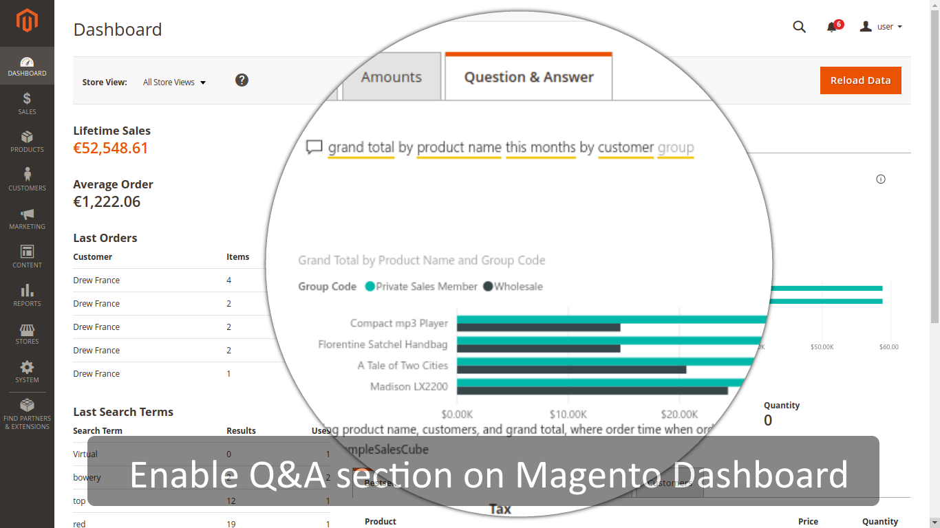Power BI Question&Answer section embedded into Magento admin dashboard