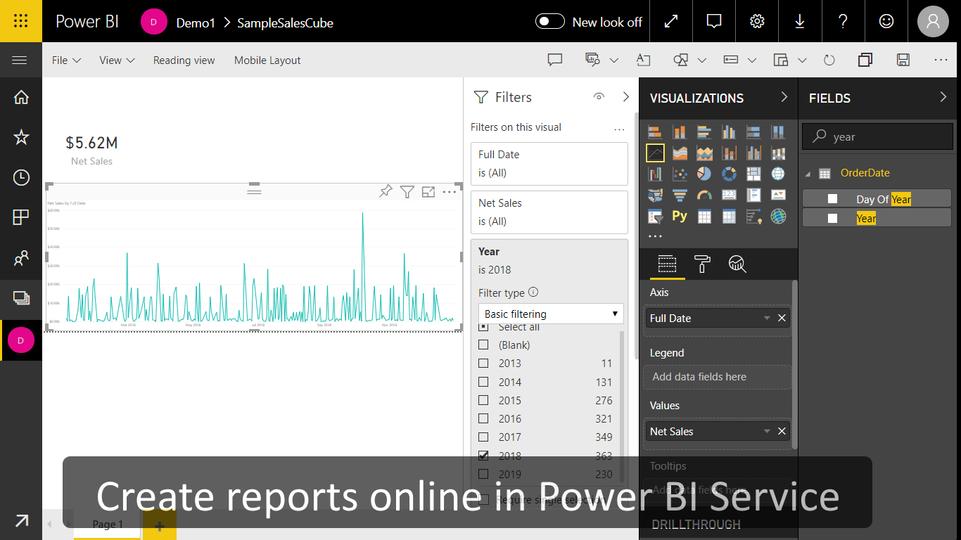 Creation of a report in Power BI Service based on Sales Cube data from Magento