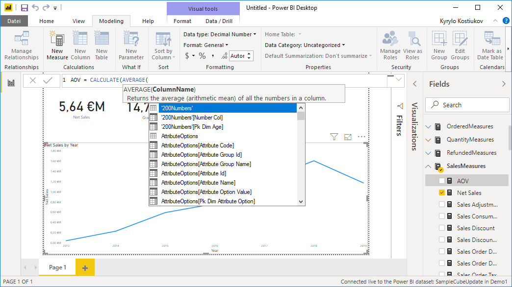 Creation of custom calculated measure for Magento reports in Power BI
