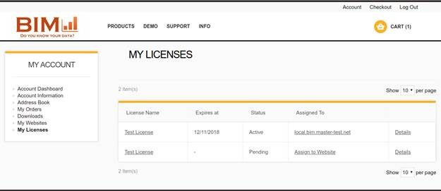 BIM Website – My Licenses page