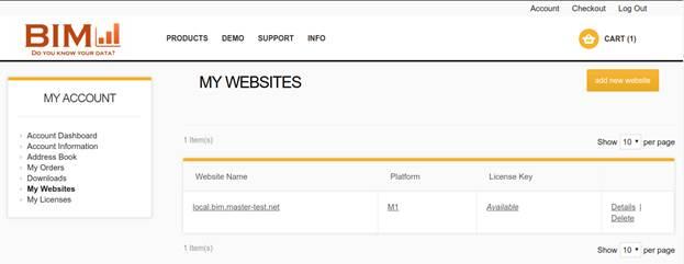 Picture: BIM Website – My Websites page