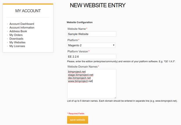 BIM Website – New client website creation form