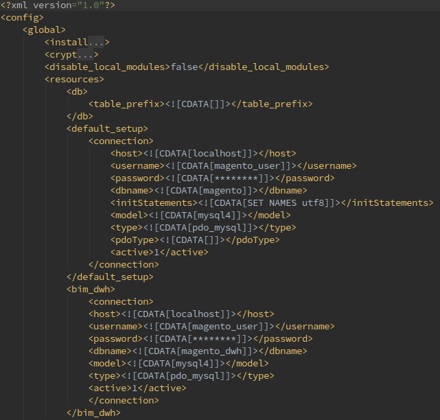 Configuring database connections for Magento 1