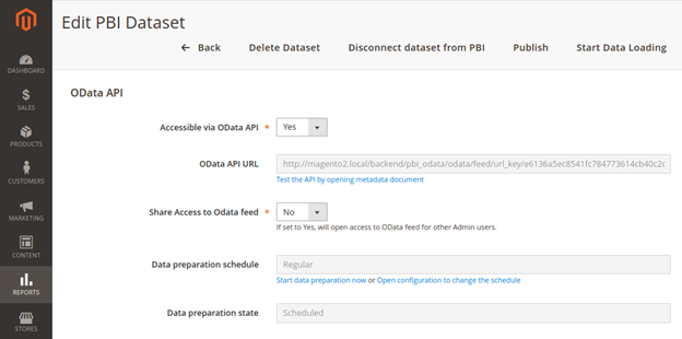 OData API Section inside Dataset properties page in Magento Platform