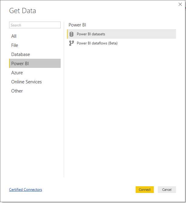 Get Data dialogue inside Power BI Desktop