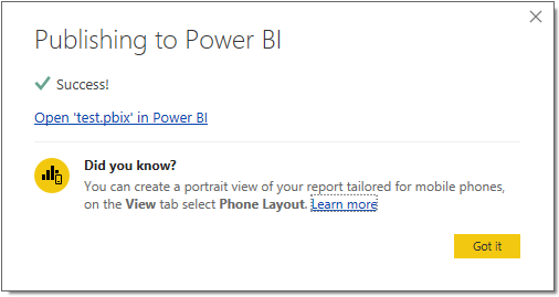Publish to Power BI dialogue