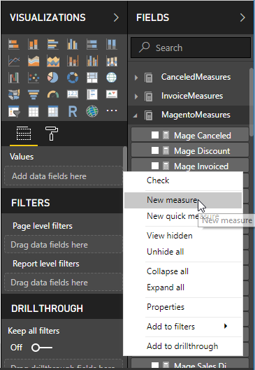 """New measure"" button for creating calculated measures inside Power BI Desktop"