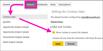 Allowing Cortana to access to a dataset