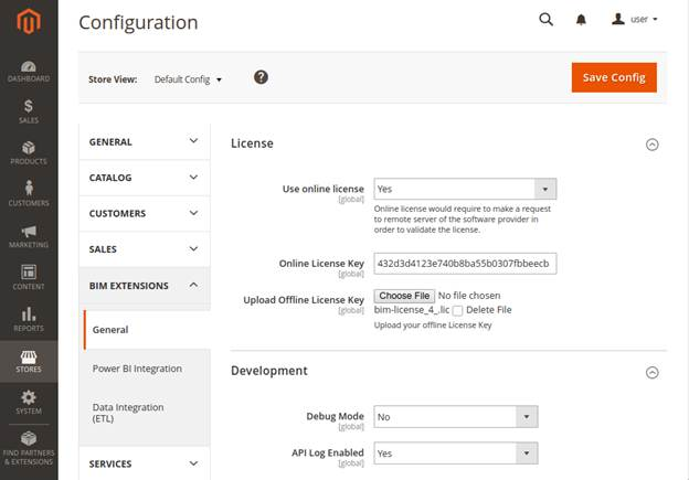 Development configuration options