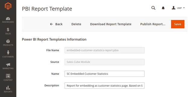 Report template details page