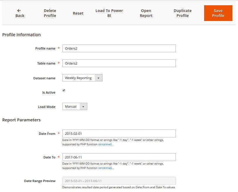 Power BI Extension: Load Profile Editor